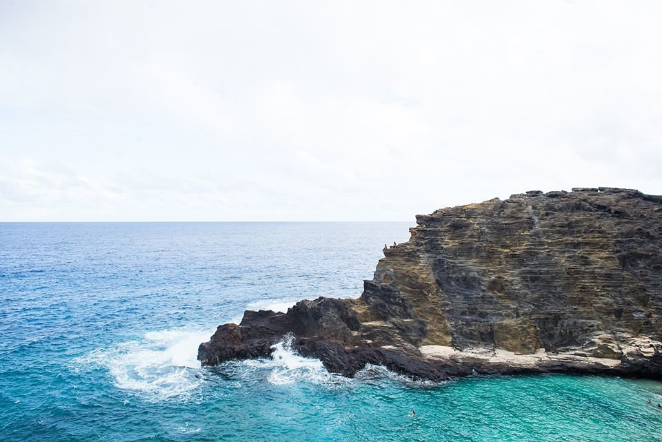 Lava rock coastline and blue ocean water from the Makapuu coast
