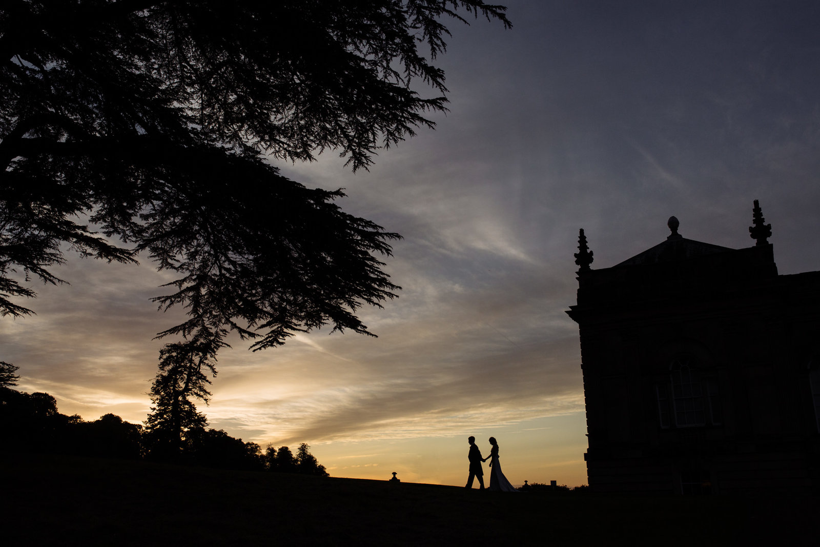 Bride and groom during sunset at Castle Howard.  Yorkshire wedding photography