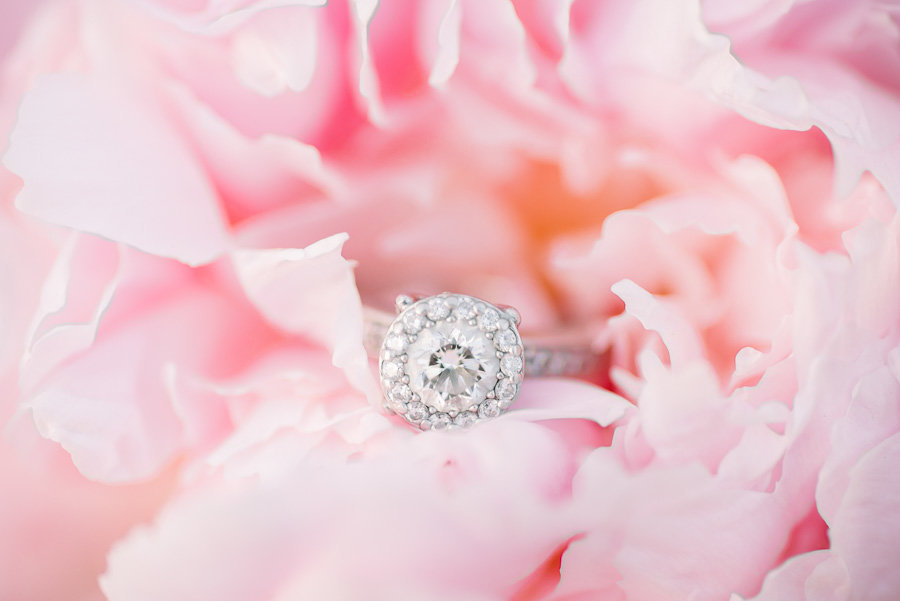 Elegant Scottsdale Wedding Photo of Wedding Ring and Pink Peonies | Tucson Wedding Photographer | West End Photography