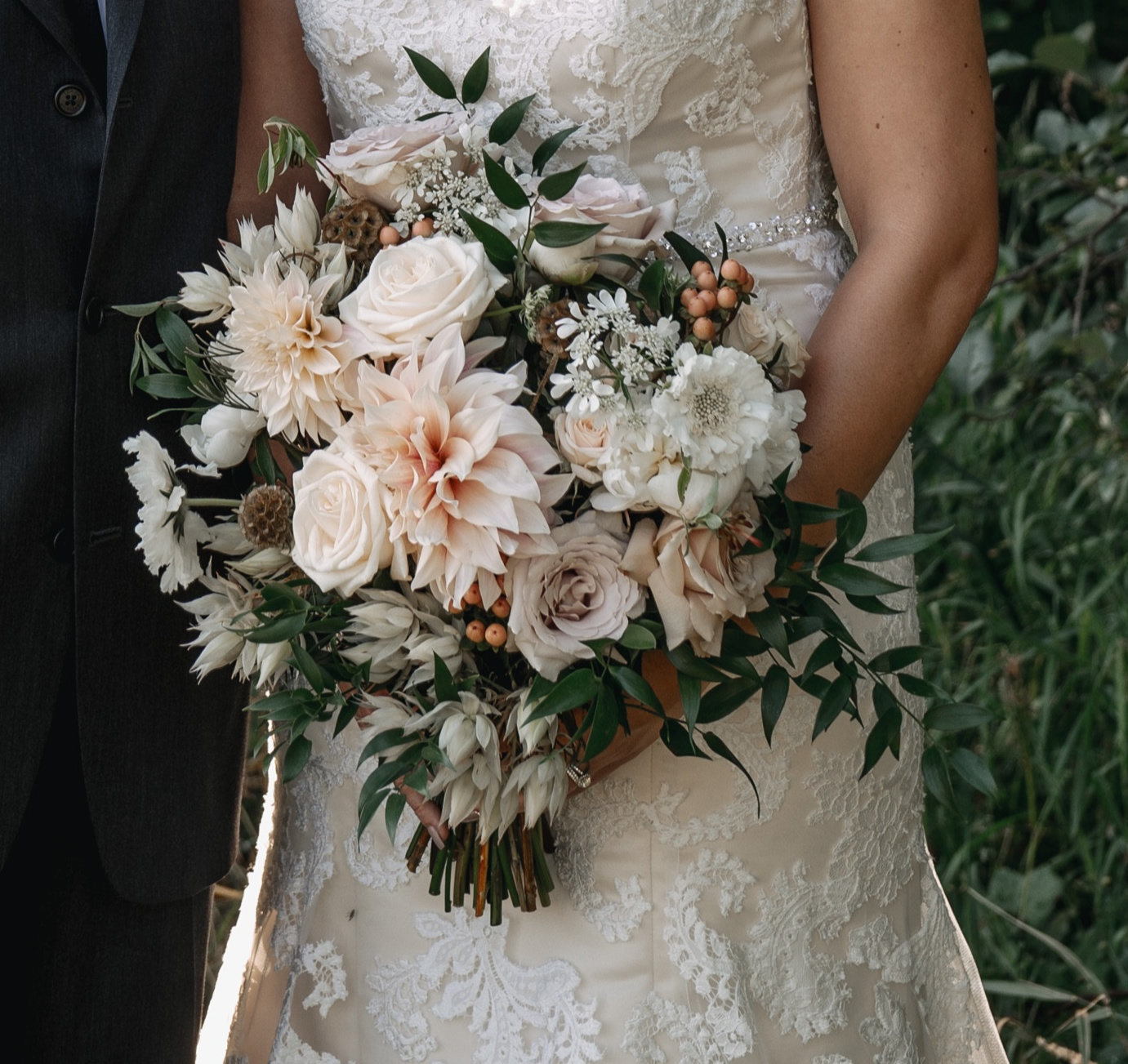 Blush wedding flowers quicksand rose Dahlia