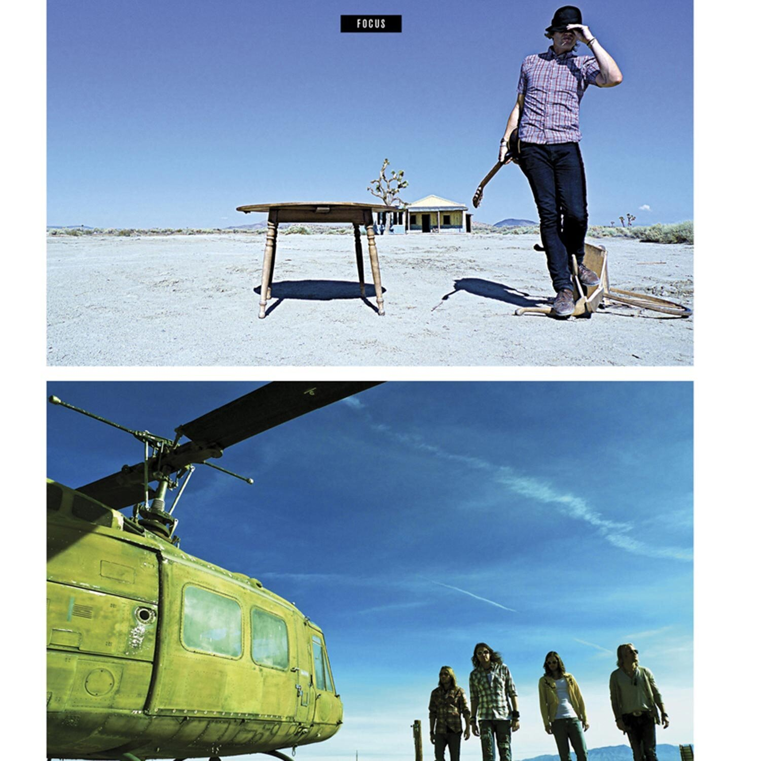 magazine article featuring LA Photographer Mark Maryanovich two color portraits one of male musicians standing along in desert holding guitar with one hand the other on the brim of his hat wooden table beside him second photo of four member band next to grounded helicopter Publication ION page 5