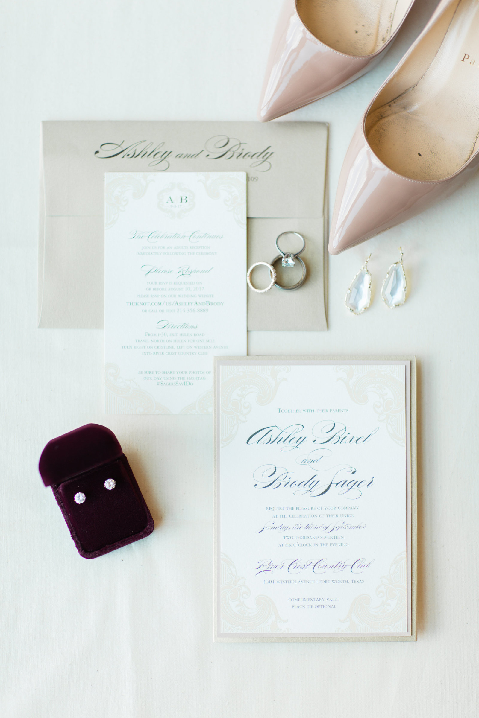 beautiful stationery with luxury jewelry and high heels