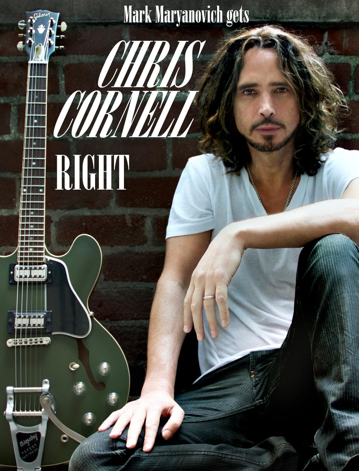 Chris Cornell Photo featured in The Hollywood Dog Magazine Article about Mark Maryanovich Los Angeles Photographer music icon seated against brick wall with Gibson Signature ES-335 leaning upright beside him page 5