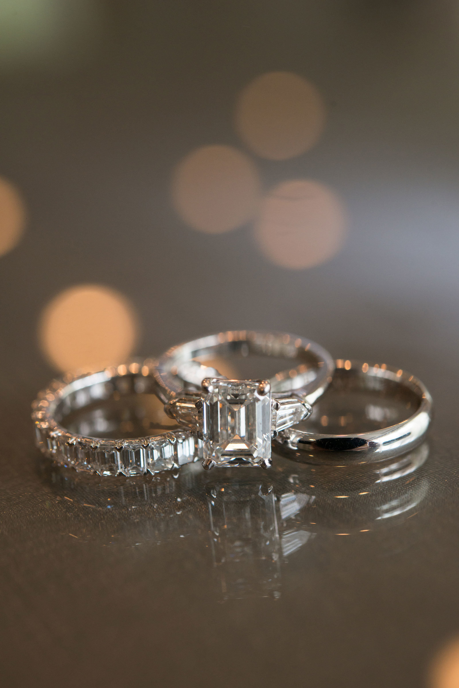 wedding bands and engagement ring at Engineers Country Club