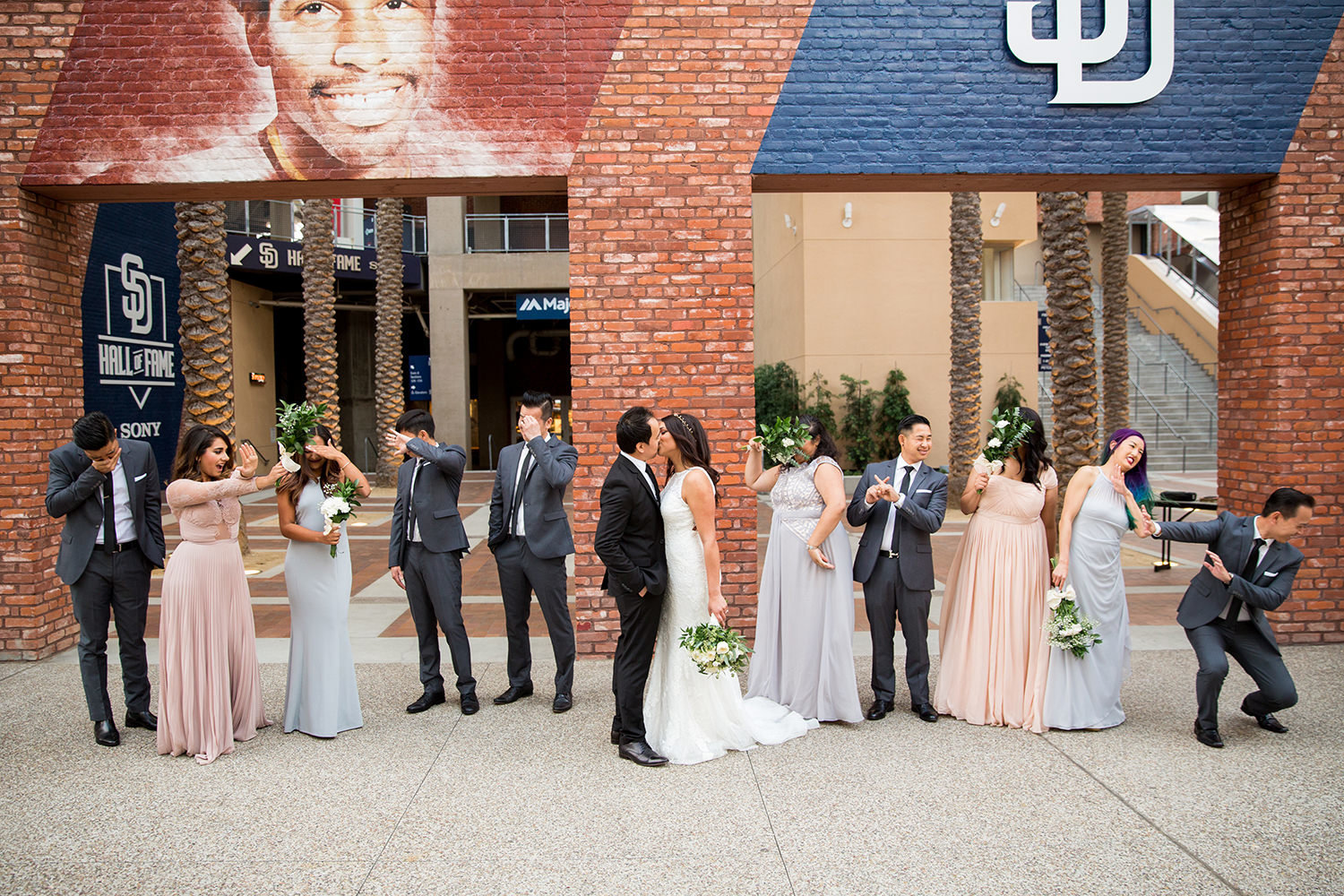 bride and bridesmaids downtown for luce loft wedding