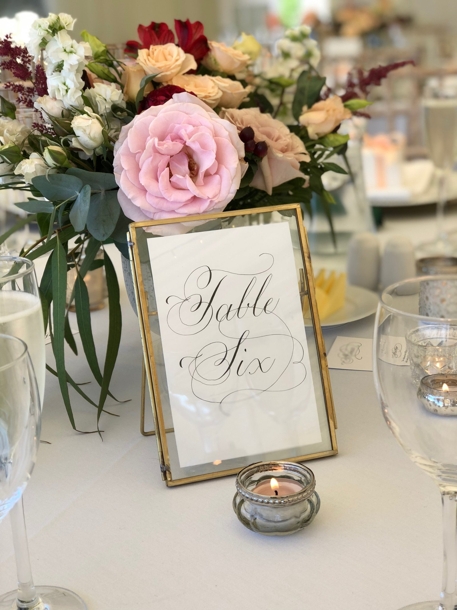 Black Copperplate calligraphy signs for Scottish wedding