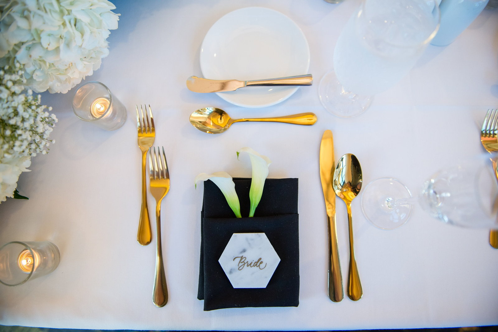 jomygoodness-gold-calligraphy-white-hexagon-tile-bride-place-setting