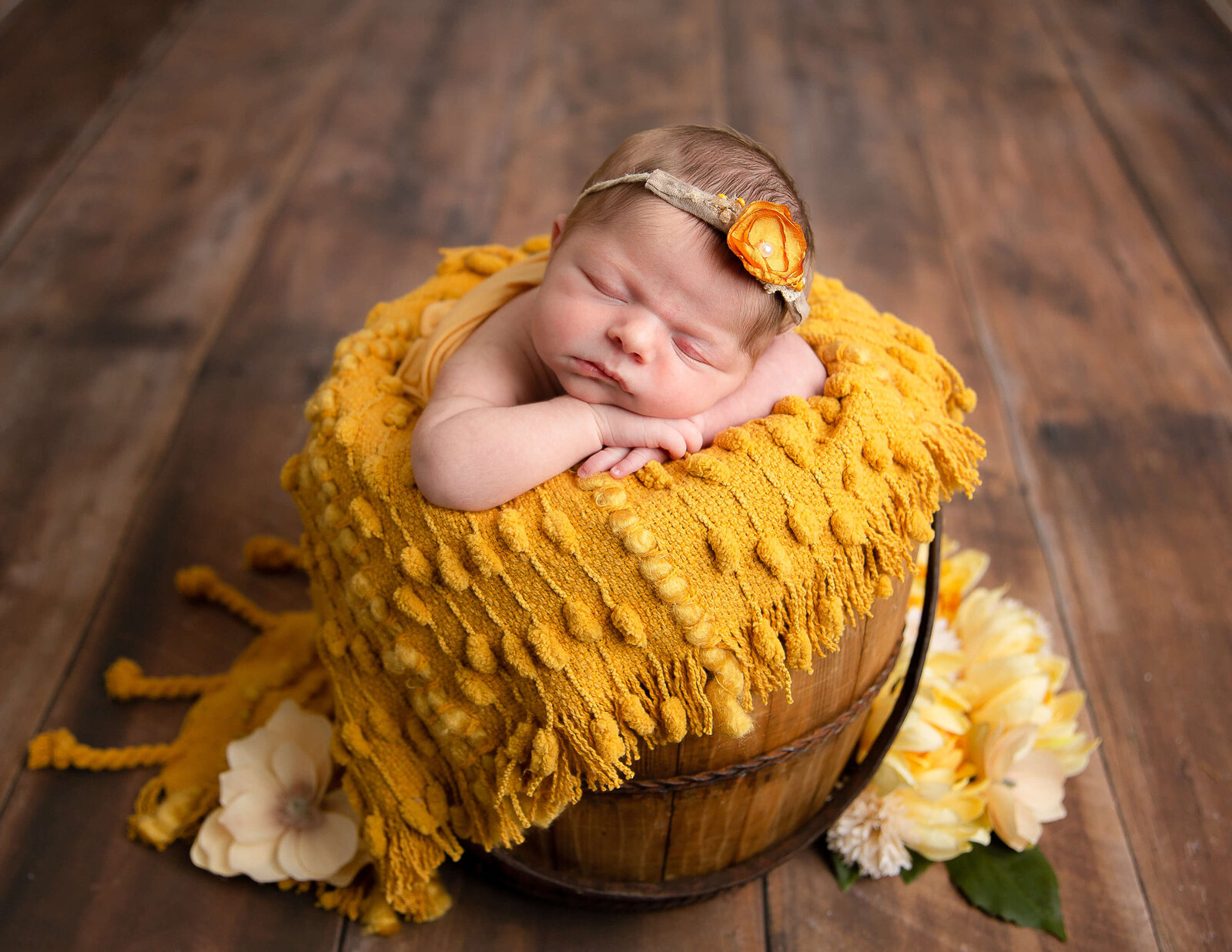 Adorable newborn girl posed at. our in-home Rochester, NY studio.
