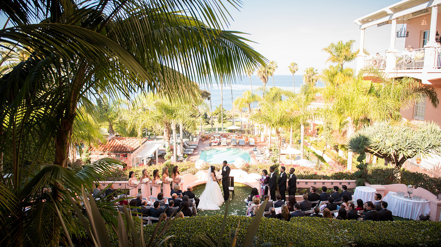 Picture perfect wedding ceremony at La Valencia in La Jolla