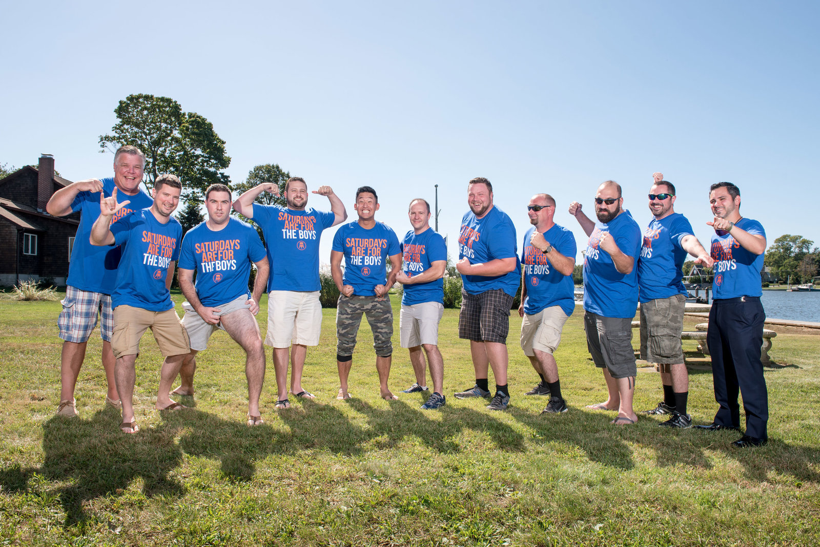 Groom and groomsmen in tshirts at Camp Pa-Qua-Tuck