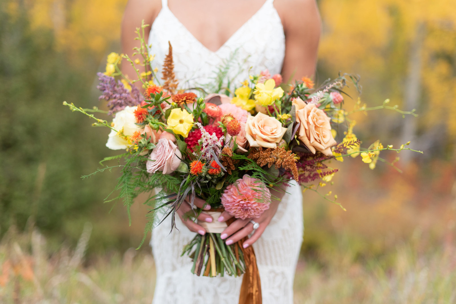 RMNP fall wedding bouquet with bright colors