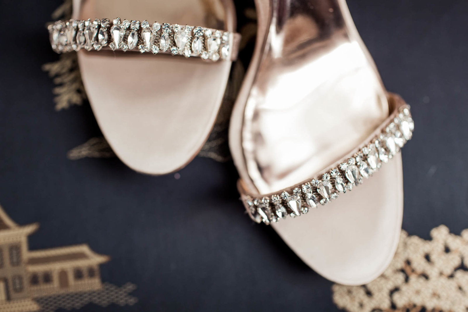 Bride's shoes sit on vintage chair, Downtown Private Estate, Charleston, South Carolina. Kate Timbers Photography.