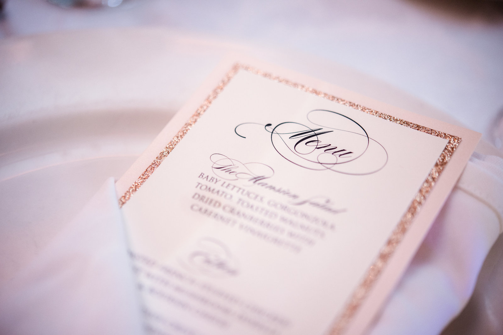 Wedding menu at Glen Cove Mansion
