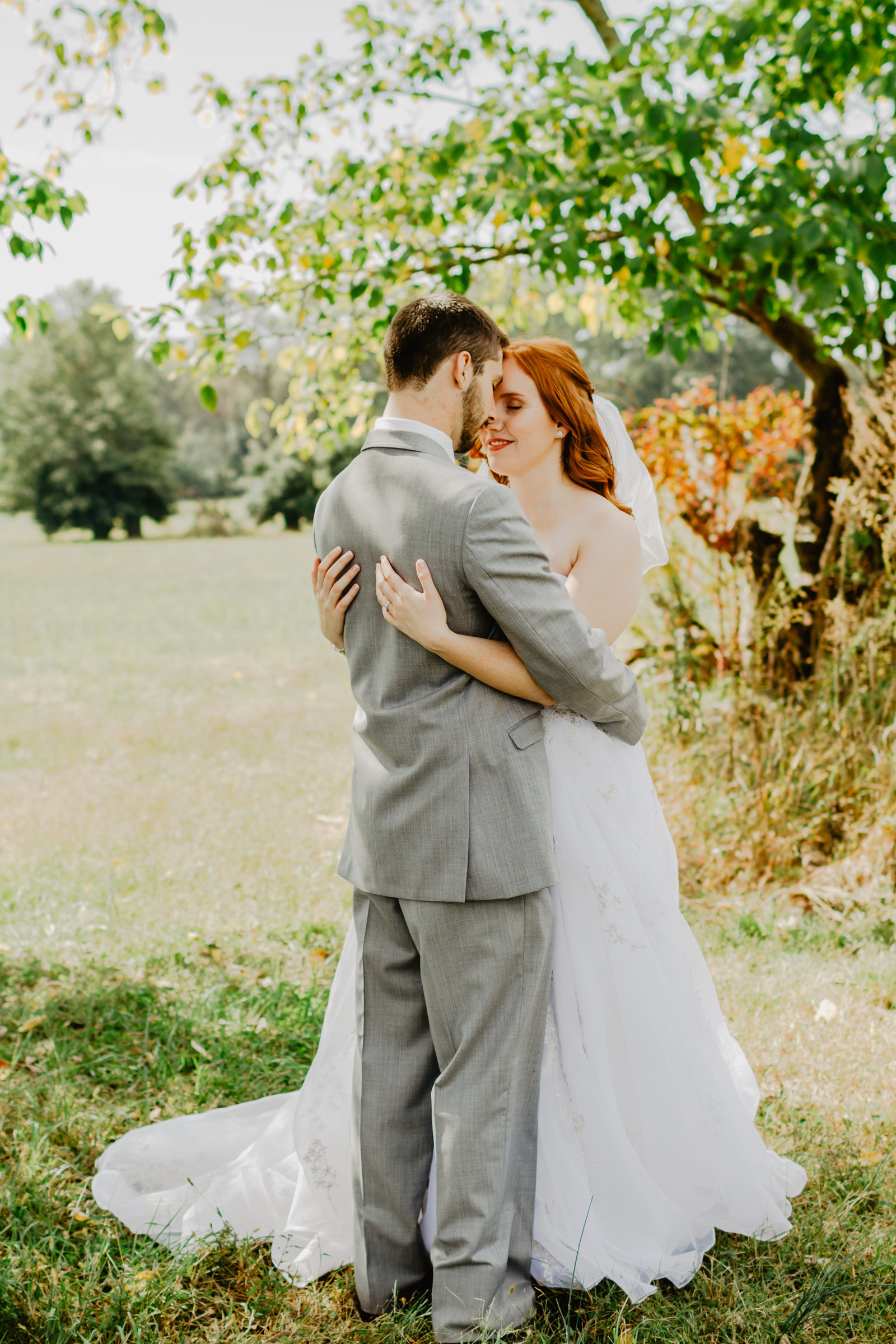 Bride and Groom have moment of silence together in large tree in field.