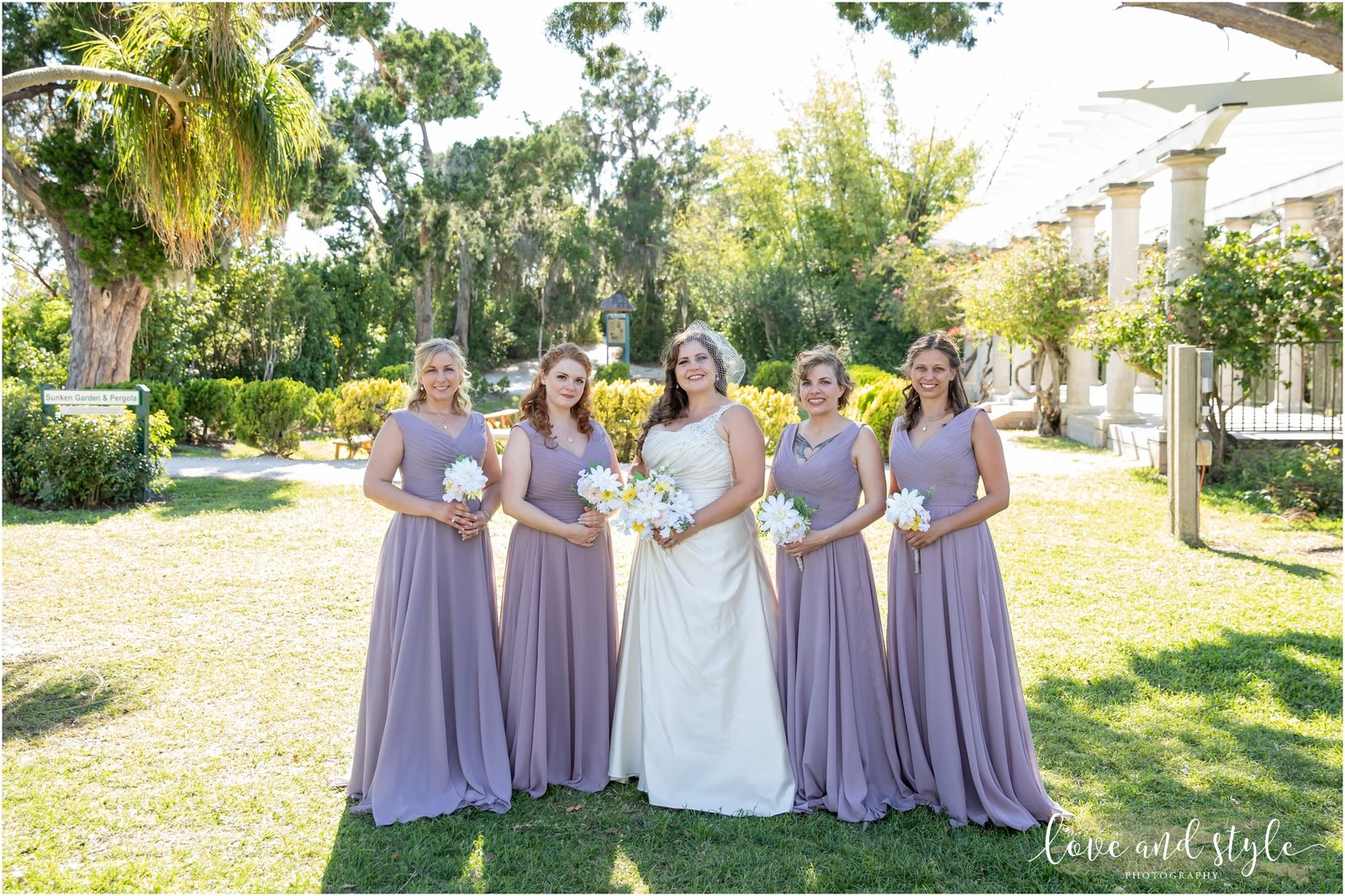 A bride and her bridesmaids at The Historic Spanish Point in Sarasota