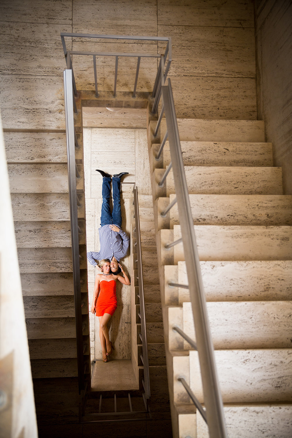 Salk Institute engagement photos  stairs with couple