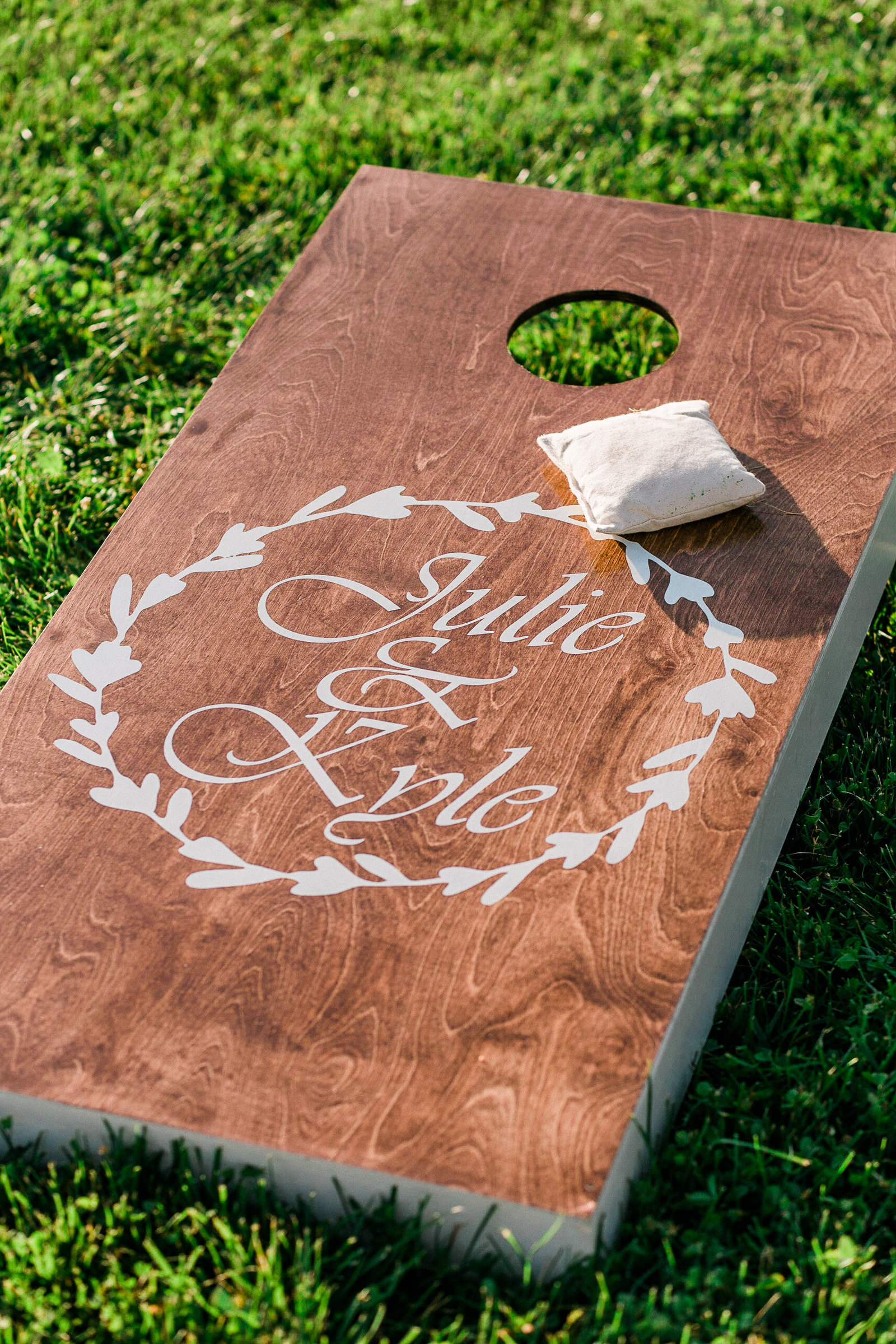 Custom corn hole for wedding
