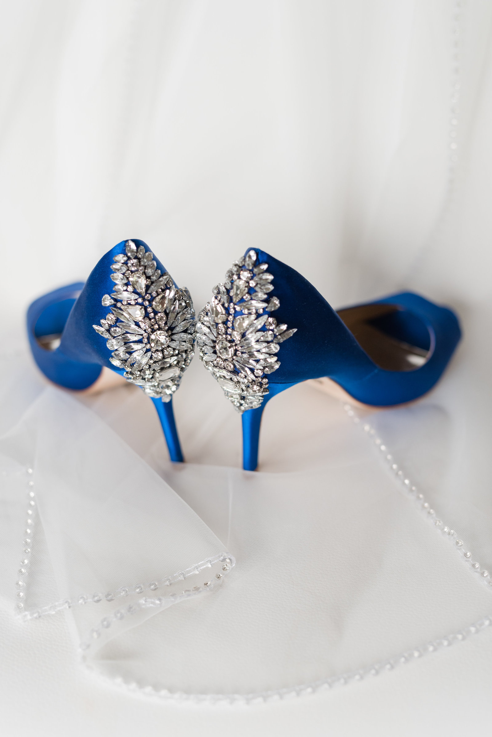 Blue Sparkle Wedding shoe and veil