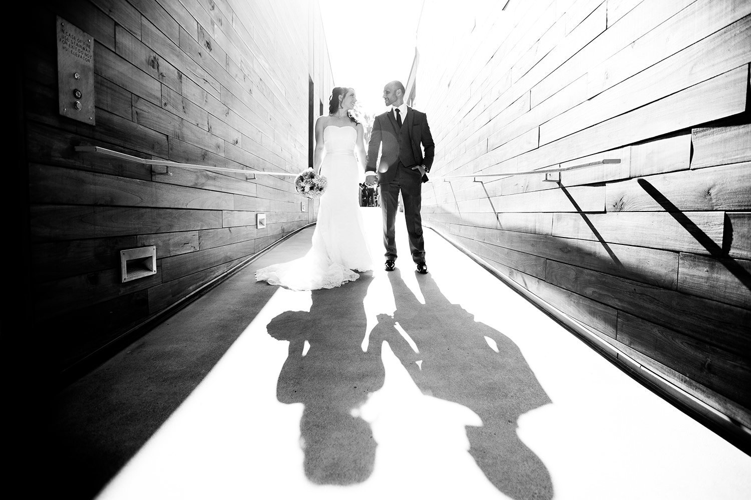 black and white romantic with bride and groom