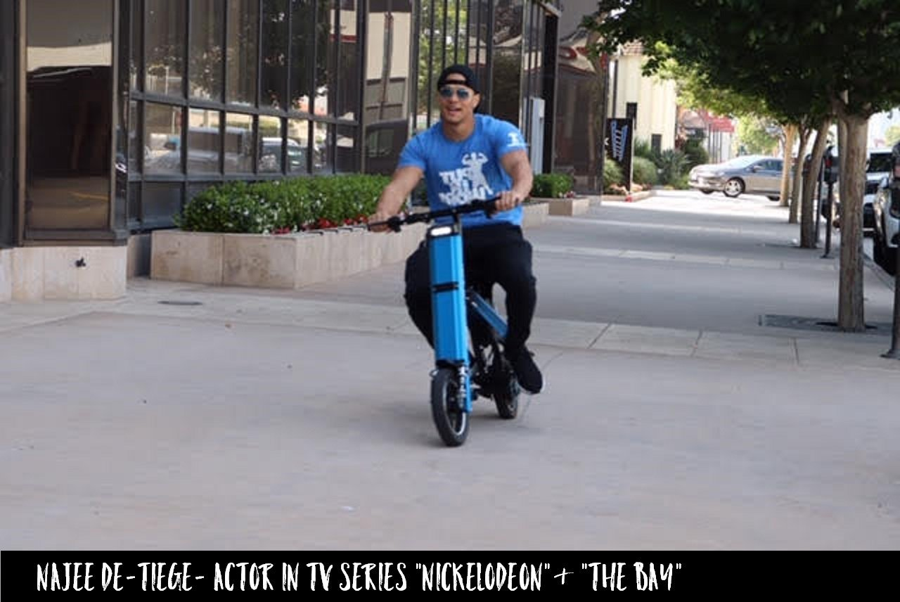 Actor Najee De Tiege whom starred in Nickelodeon and The Bay is cruising the streets of LA on a blue Go-Bike M2. V&D Electric Bikes.
