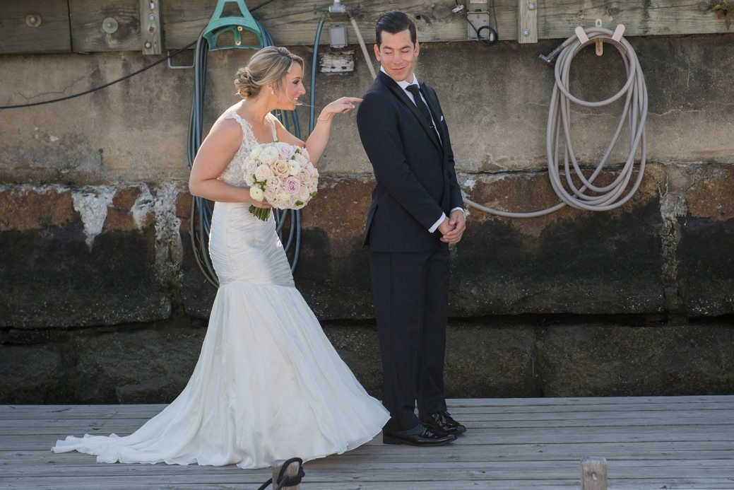 First look between bride and groom at Belle Mer in Newport, RI