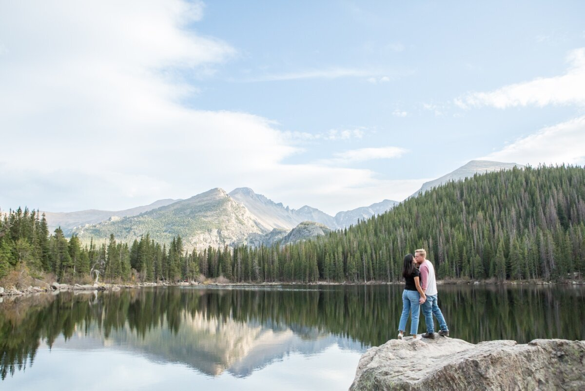 Engagement photography in Rocky Mountain National Park at Bear Lake