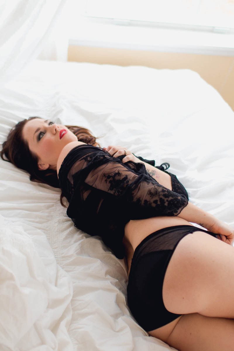 Ms L wears lacy shrug and lingerie, Boudoir Photography, Charleston, SC