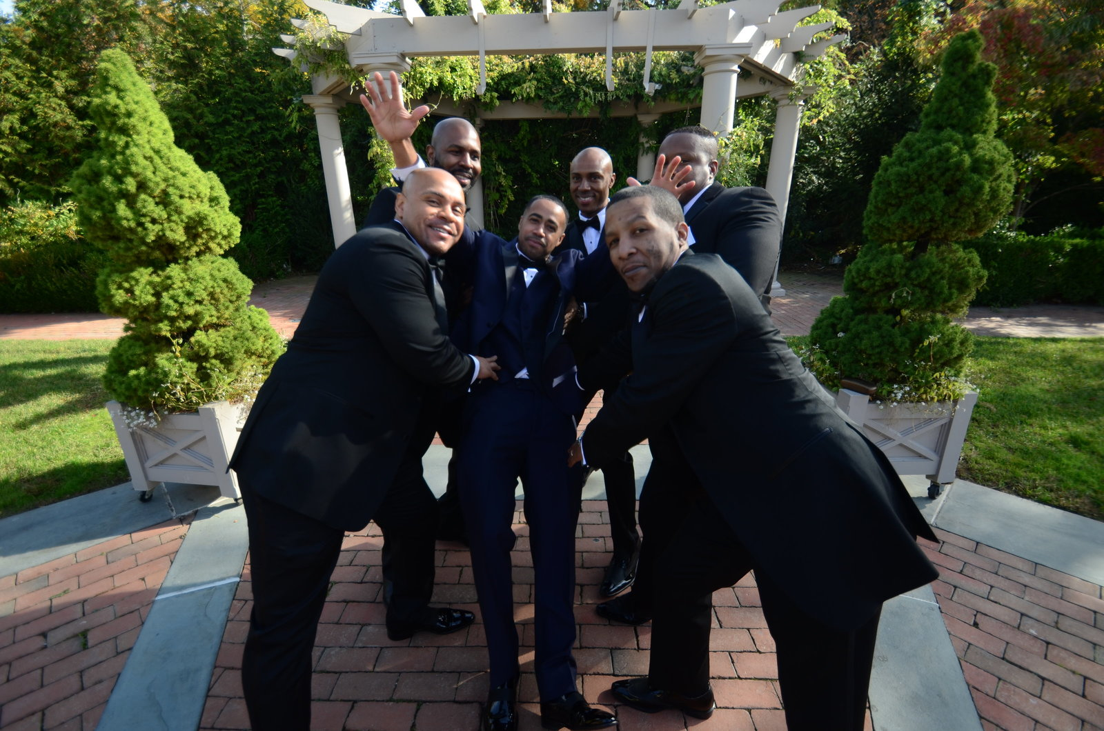 No greater feeling than when your groomsmen have your back on the most important day of your life. The Groom and his squad.