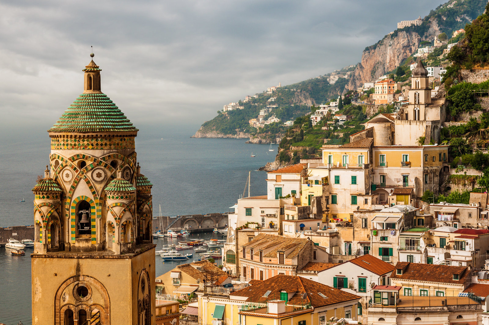 Amalfi city with bell tower of the Cathedra