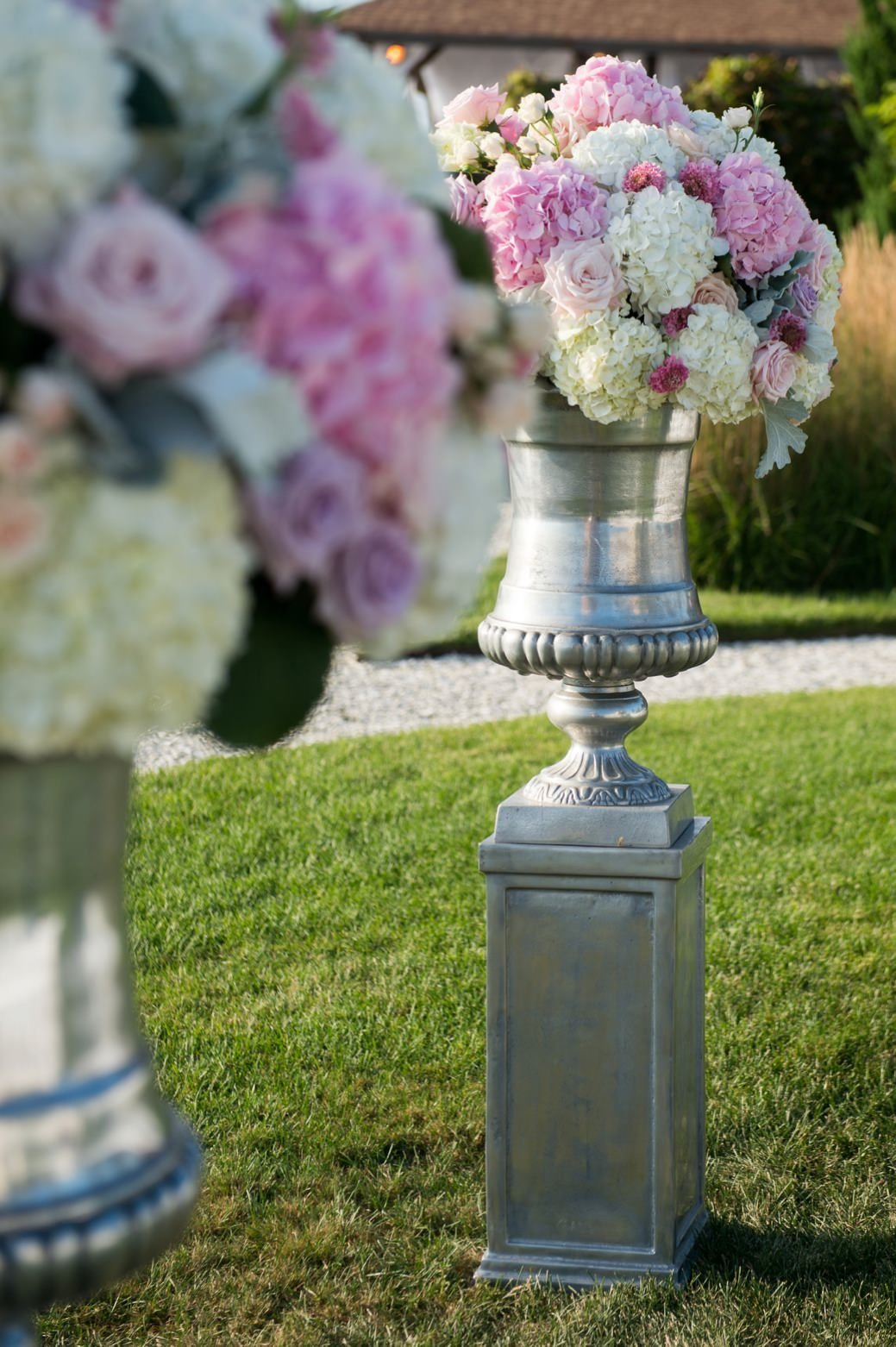 Ceremony flowers for wedding on the lawn at Belle Mer in Newport, RI