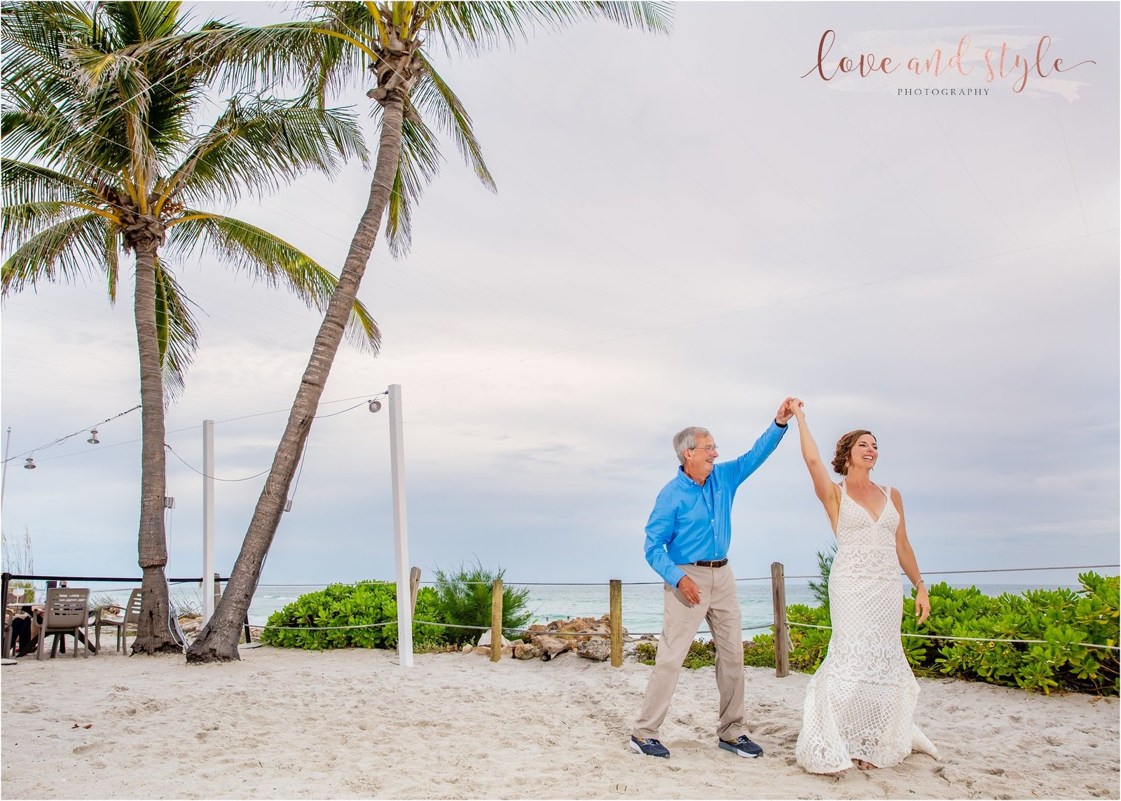 Father daughter dance on the sand at The Beach House, Anna Maria Island