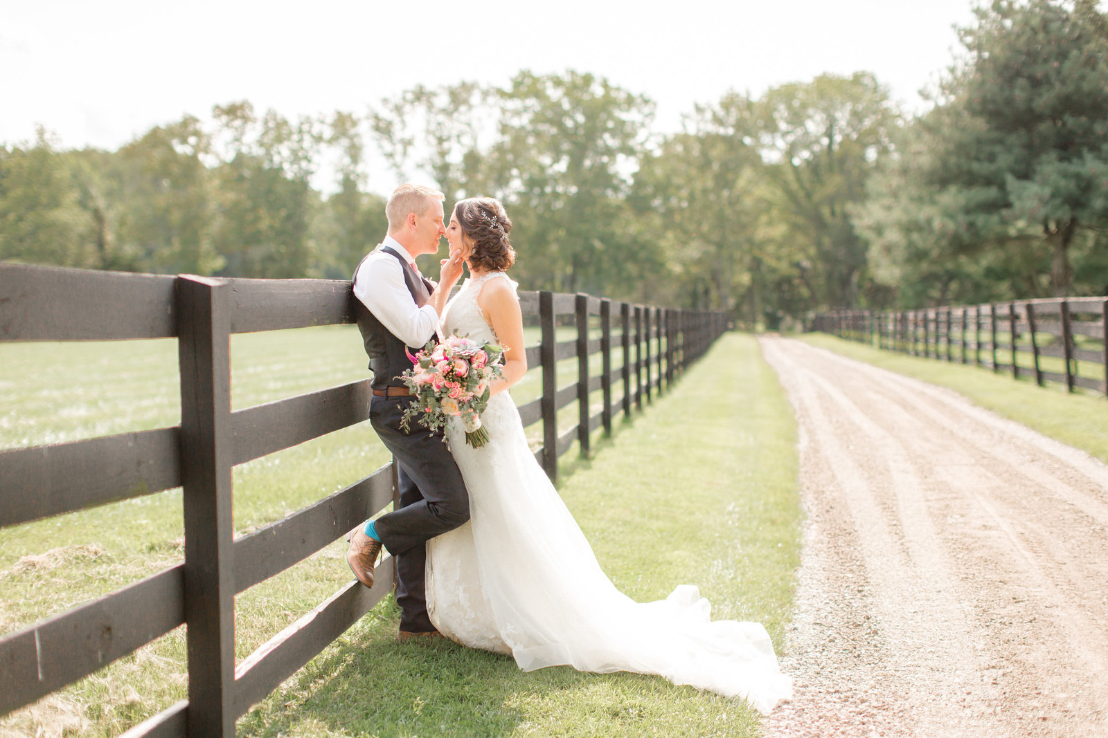 Bride and groom at NJ Farm wedding