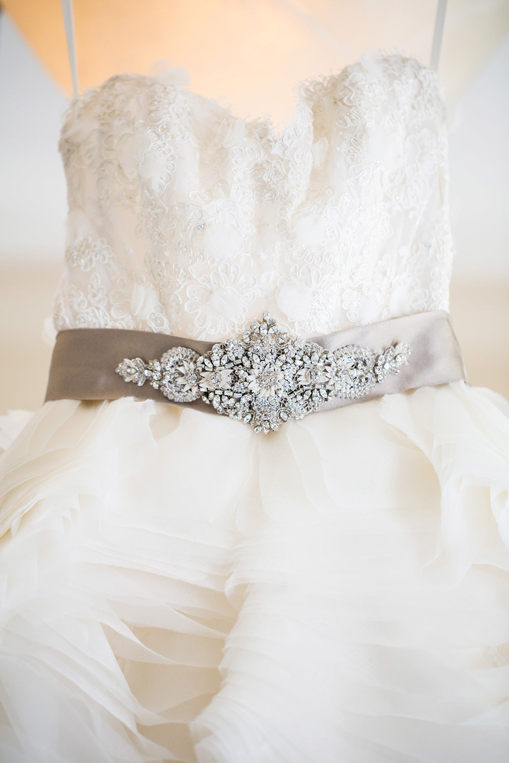Wedding dress with lace and rhinestones