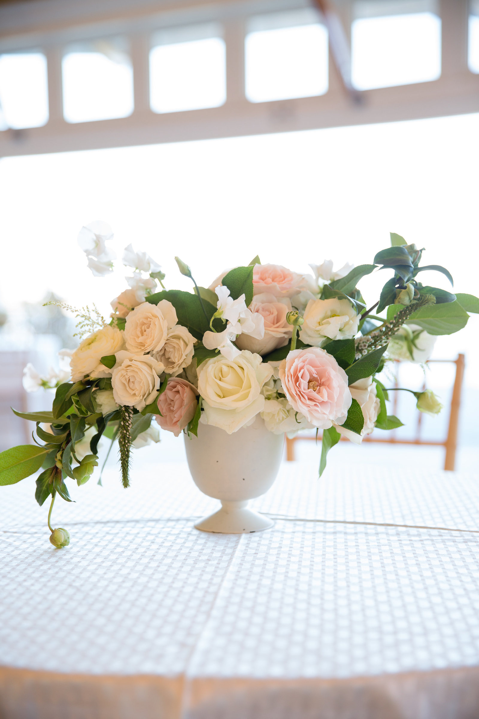 Flower centerpieces at Wequassett Resort