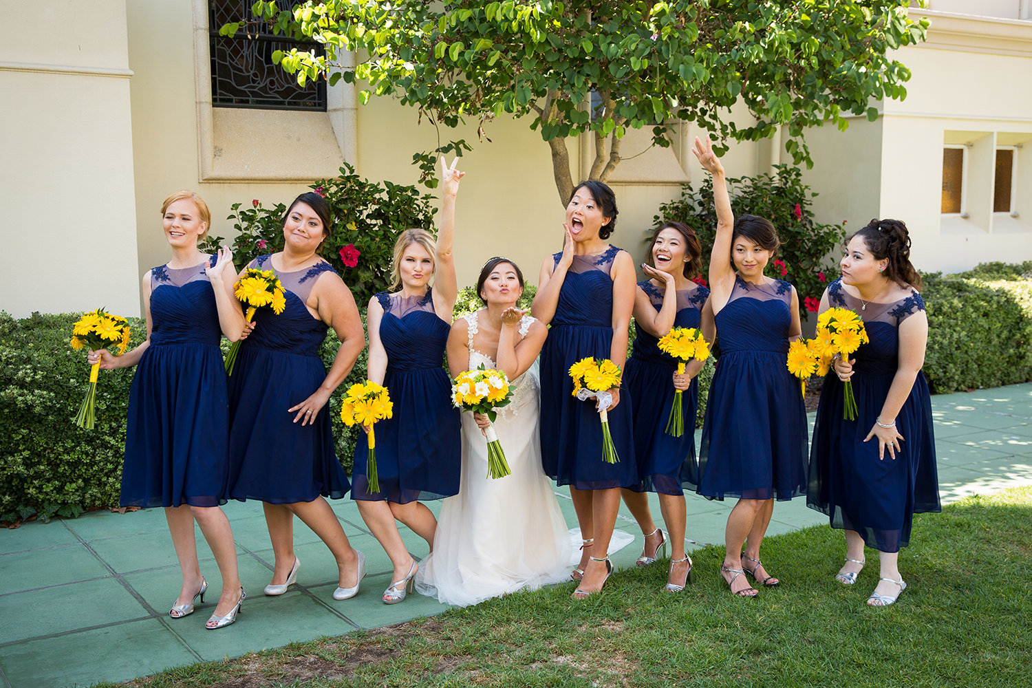 bridal party at the immaculata