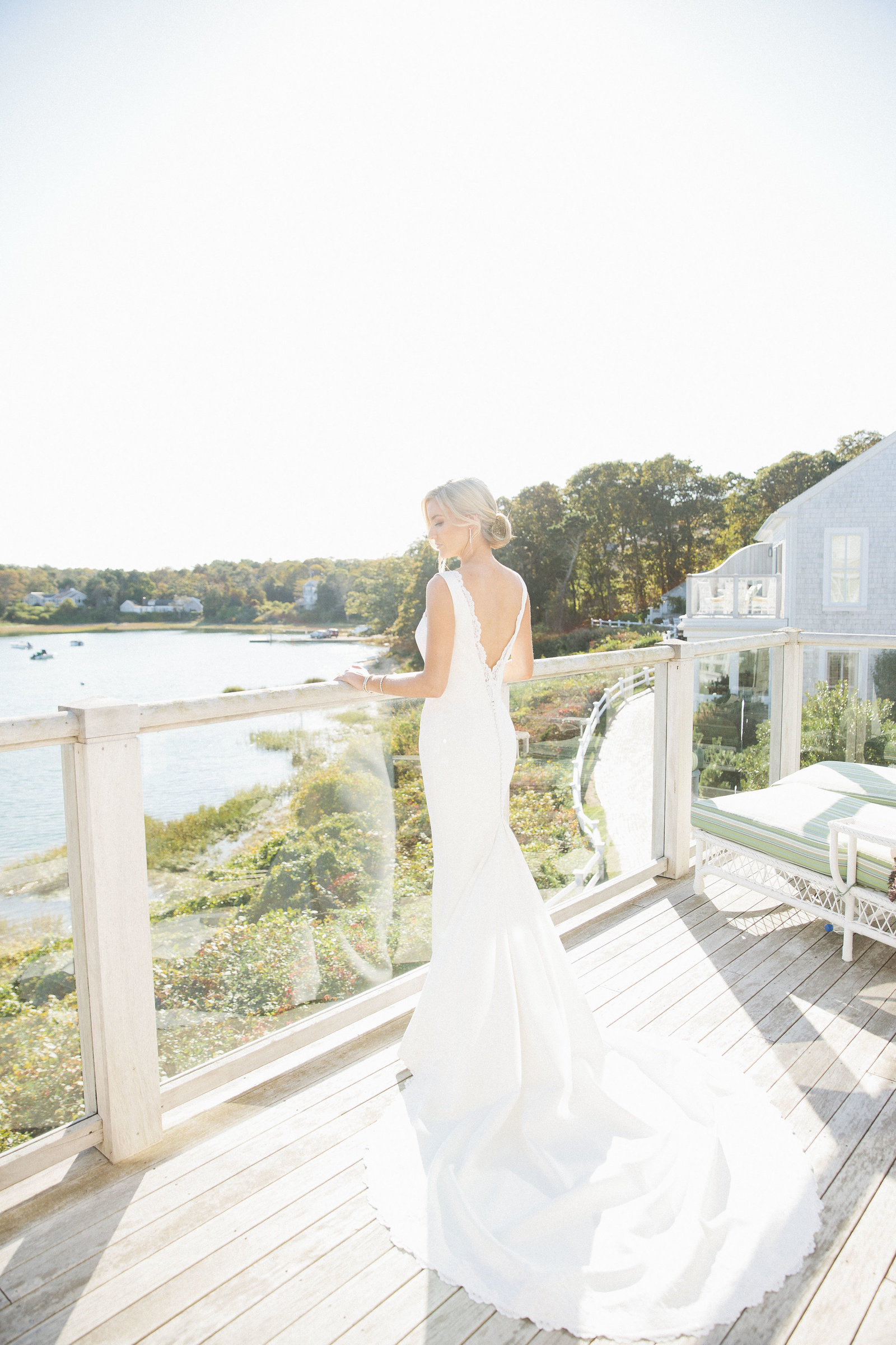Whitney BIschoff's trumpet gown at Wequassett Resort