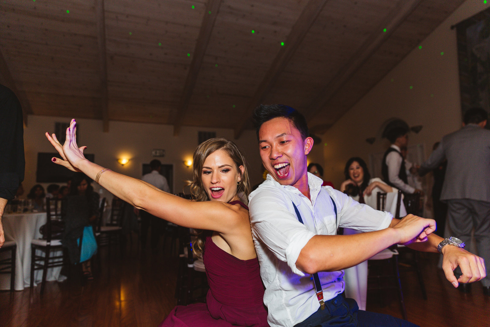 getting low with the wedding dance moves at vineyard wedding