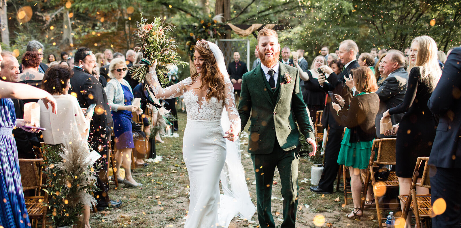 joyful couple in ceremony recessional at Old Mill Rose Valley