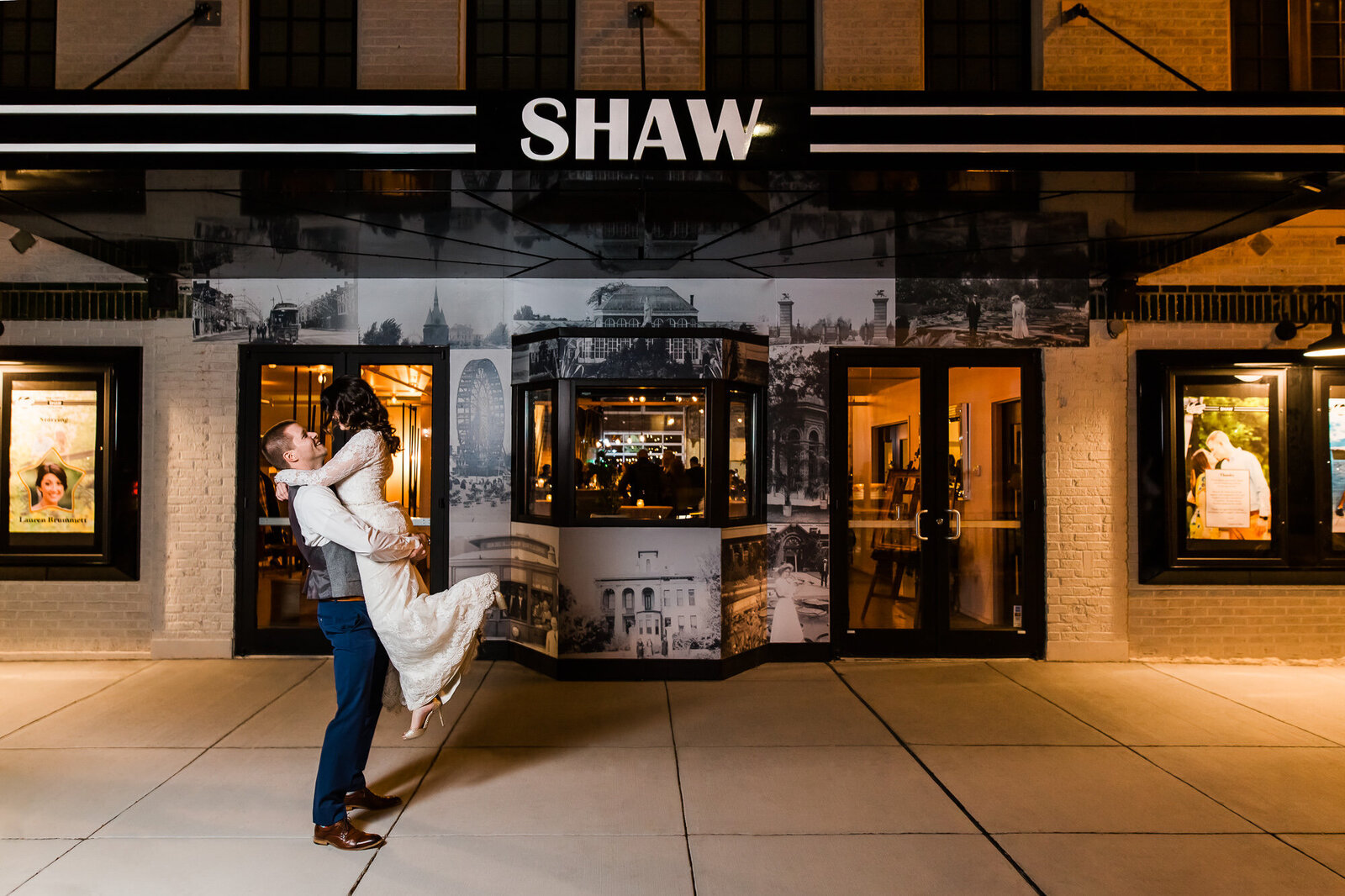 Portrait of a newlywed couple outside at night at Wild Carrot in the Shaw neighborhood in St. Louis