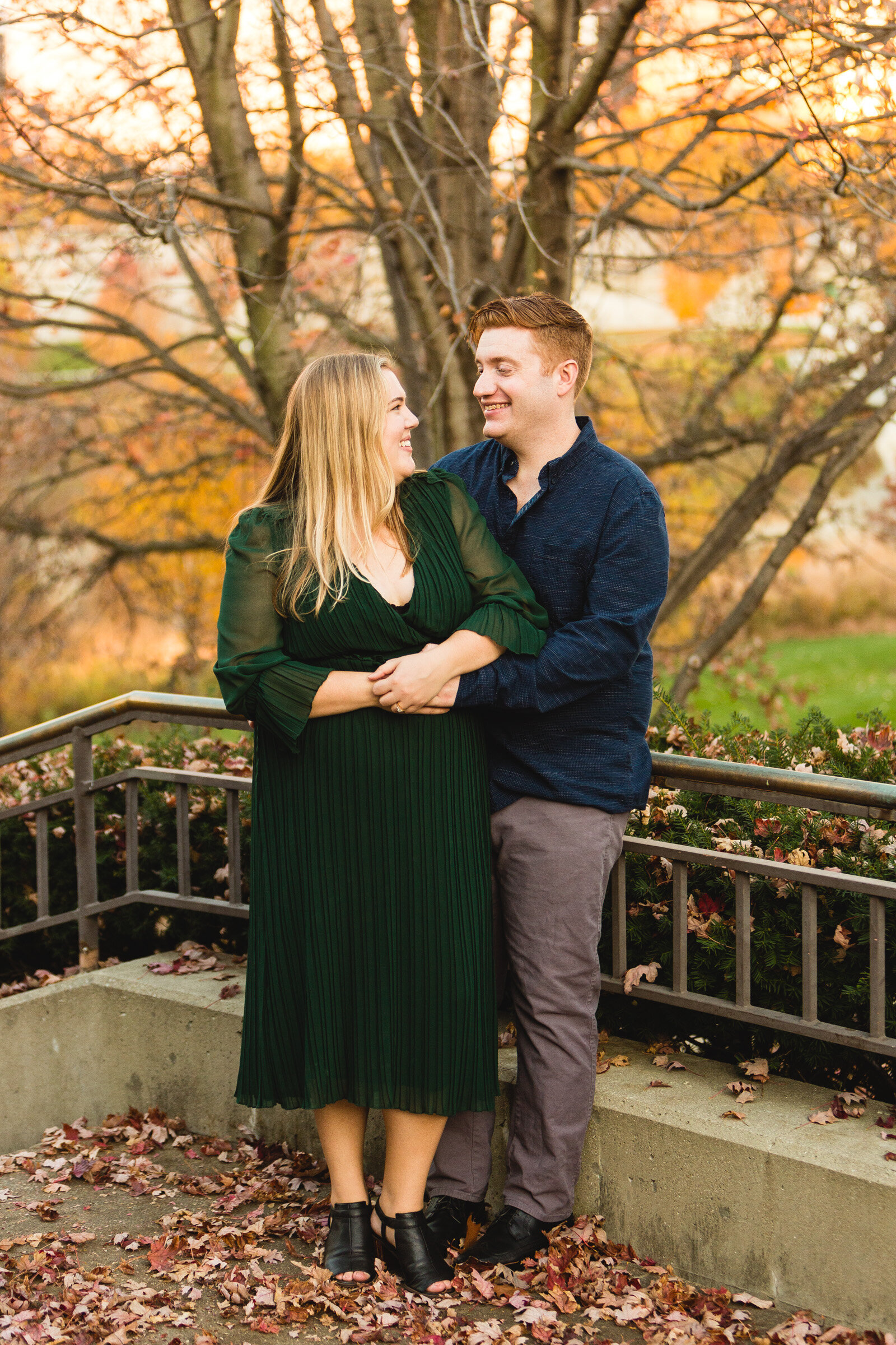 engaged couple looking at each other for ohio portraits