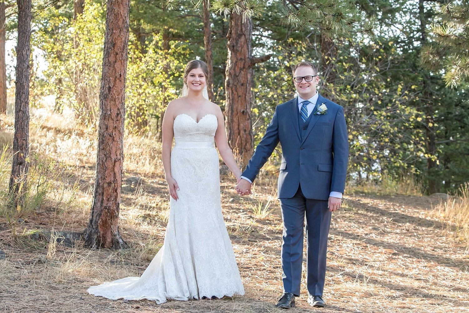 fall wedding in Colorado with Andy and Courtney at Boettcher Mansion