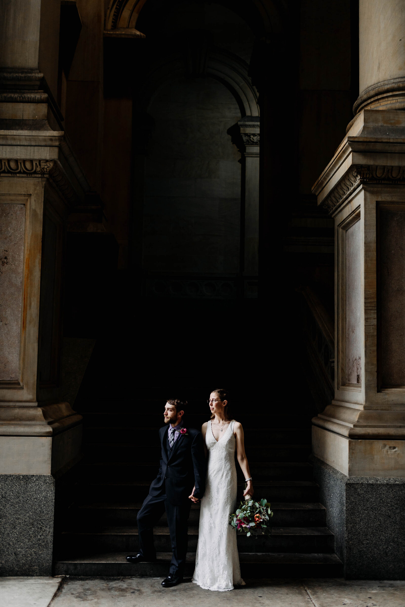 bride and groom at philadelphia city hall