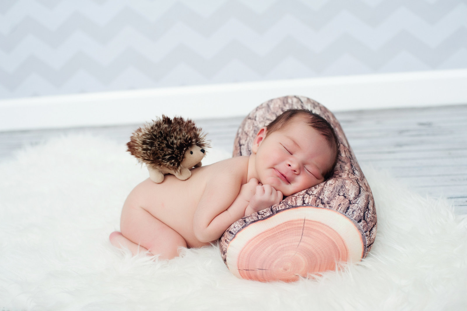 a newborn lays on a woodland pillow with a porcupine on his back