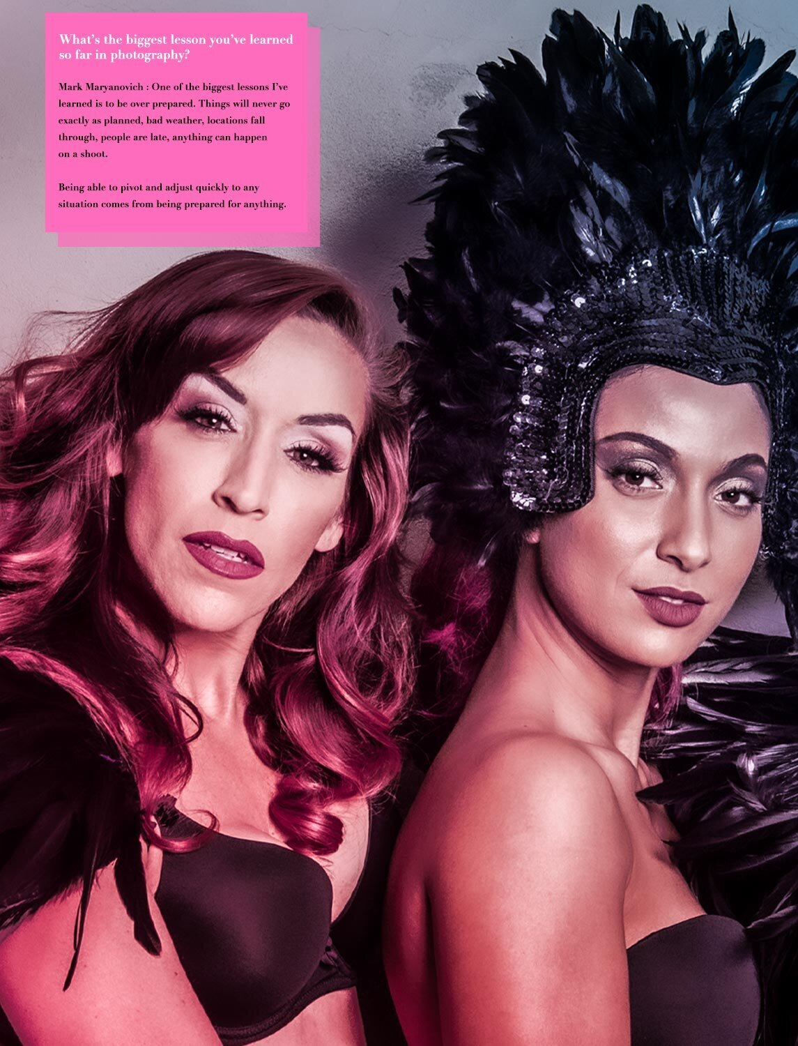 Pump It Up Magazine Interview featuring Mark Maryanovich black and white text laid in pink box above photo of two female musicians one with feathered head dress page 2