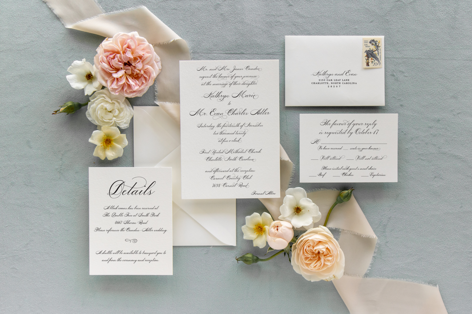 Formal Script Semi-Custom Invitation Suite