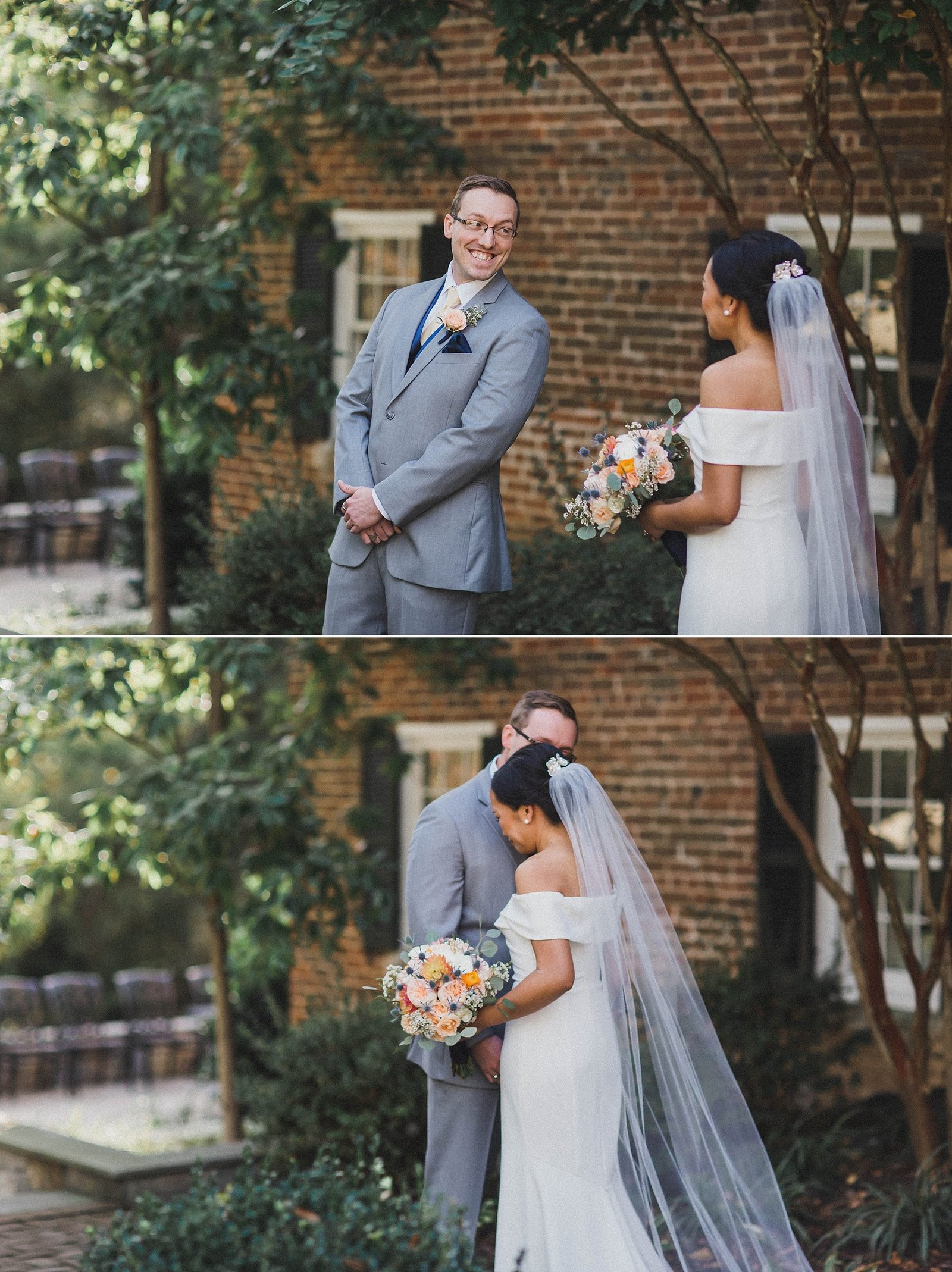 M Harris Studios_Braehead Manor_VA Wedding Photographer_first look outside manor