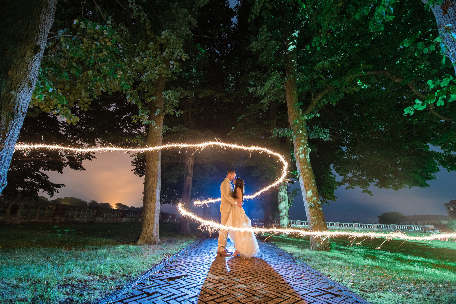 Sparkler photo at the Bourne Mansion