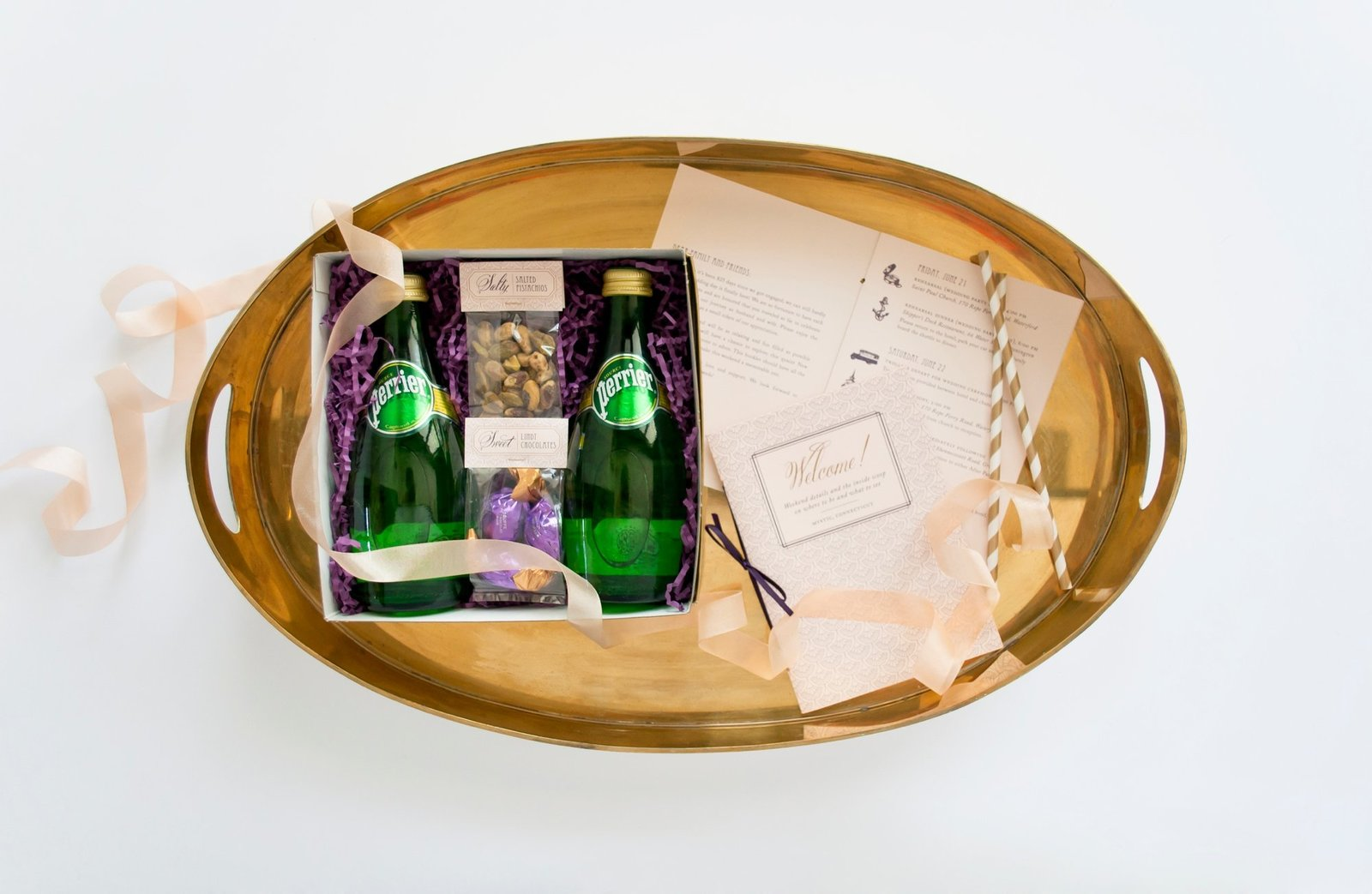 Luxurious gatsby themed welcome gifts for guests at The Branford House in Groton, CT