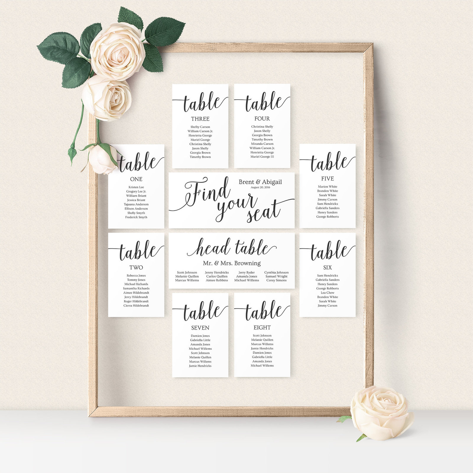 Rustic seating chart cards for wedding