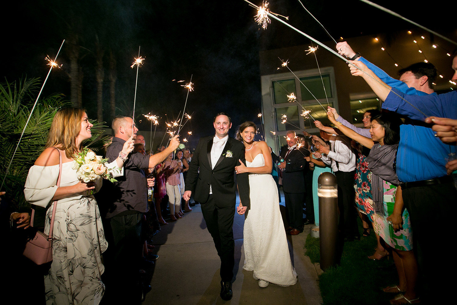 sparkler picture at the end of wedding at the dana